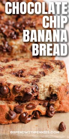 Chocolate Chip Banana Bread is a no-fail recipe that turns out perfectly moist & delicious every time! Make muffins instead of a loaf for an easy after school snack! #spendwithpennies #chocolatechipbananabread #recipe #dessert #snack #breakfast Coconut Banana Bread, Easy Banana Bread, Chocolate Chip Banana Bread, Chocolate Chip Recipes, Banana Bread Recipes, Easy No Bake Desserts, Dessert Recipes, Cookbook Recipes, Sweet Recipes