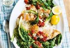 Hühnerfilet mit Endivie und Zitronenoberssauce