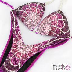 Pink and Purple Figure Posing Suit Bikini Competition Suits, Figure Competition Suits, Scrunch Bikini Bottoms, Bikini Tops, Figure Suits, Posing Suits, Suits For Sale, Purple, Magenta