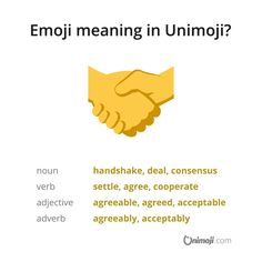 Let's make a deal! 🤝  More in Instagram...  #Unimoji #emojilanguage #new #universal #emoji #language #emojimeanings #icon #symbol #picture #graphics #emojimeaning #emojione #handshake #shakinghands #deal #makingdeals #agreement #contract #accord #pact #settlement #settle #cooperation #agreeable #compromise #ok #agreed #acceptable #accede Emoji Language, Adverbs, Shake Hands, Meant To Be, Graphics, Let It Be, Instagram, Articles, Graphic Design