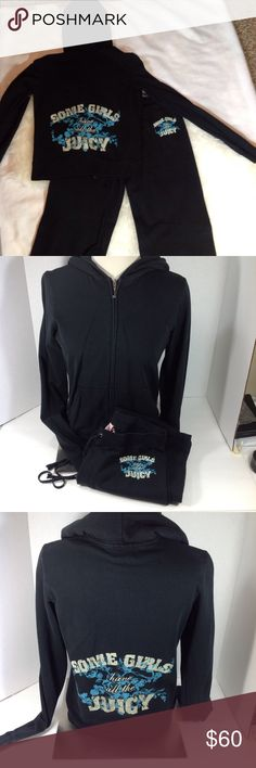 """Juicy Couture black large cotton tracksuit Juicy Couture size large black cotton tracksuit.   Back of top & front hip on pants says """"Some Girls Have All The Juicy"""" from an immaculate non-smoking home. Juicy Couture Pants Track Pants & Joggers"""