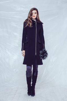 Black Zipper Coat C0915