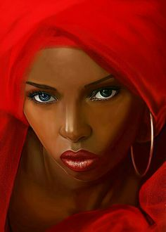 Black Art African American Woman in Red Black Girl Art, Black Women Art, Beautiful Black Women, Art Girl, Simply Beautiful, Absolutely Stunning, Black Men, Black Art Painting, Black Artwork