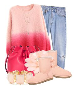 """""""Pink Autumn (2)"""" by queenrachietemplateaddict ❤ liked on Polyvore featuring Levi's, UGG Australia, Sole Society, Dettagli, R.J. Graziano, ALDO, Pink and Sweater"""
