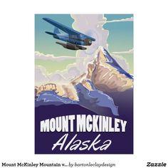 Mount McKinley Mountain vintage travel poster