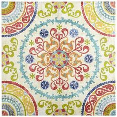 """Searching for a special work of art? Our Suzani (""""needle"""" in Persian) print takes inspiration from a type of embroidered tribal textile made in Central Asia. With fabric treated for UV protection, this kaleidoscopic medallion on a cream field energizes indoor or outdoor spaces. Finding a Suzani in a haystack just got a lot easier."""