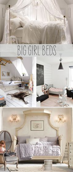 How cute is that little gray toddler bed?! When do kids transition into big beds anyway?