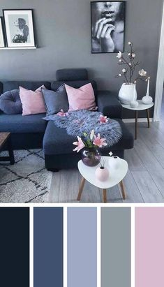 Interior design in cold colour palette