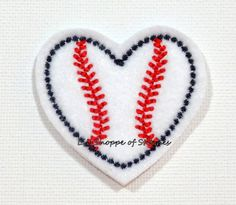 Hey, I found this really awesome Etsy listing at https://www.etsy.com/listing/229890976/embroidered-baseball-heart-felties