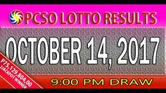 PCSO Lotto Results October 14, 2017 (6/55, 6/42, 6D, SWERTRES & EZ2 LOTTO)