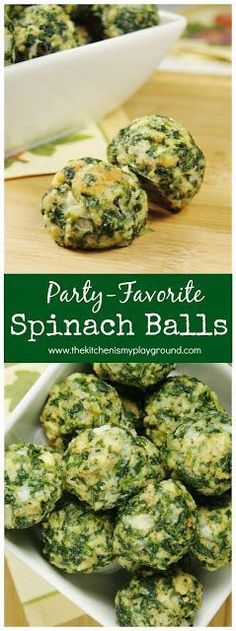 Spinach Balls ~ party-perfect! These little bites are always a favorite. Freeze well, too. #partyfood #gameday #spinach www.thekitchenismyplayground.com