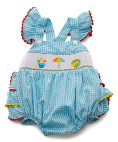Look what I found on #zulily! Turquoise Beach Smocked Angel-Sleeve Romper - Infant #zulilyfinds
