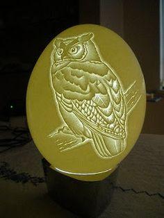 Arte em Casca de Ovos - Escultura em casca ovo - Egg Carving: Avestruz - Wisdom