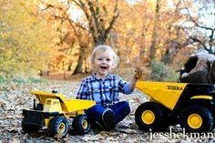 toddler with dump trucks- JessHekman Photography