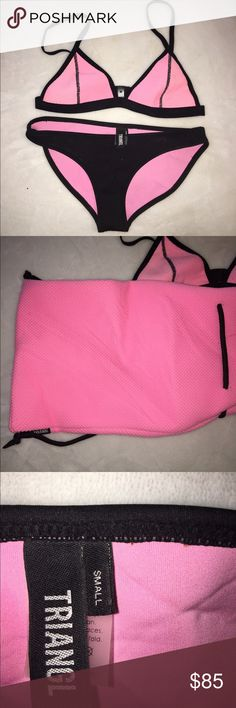 authentic triangl bathing suit with bag RARE authentic triangl. Size small both bottoms and top. straps can be adjusted for perfect fit. Only worn once. love it but just have a lot of bathing suits. wrinkles can be taken out with an iron. style and color are discontinued so it's difficult to find! OFFERS ARE ACCEPTED(: triangl swimwear Swim Bikinis