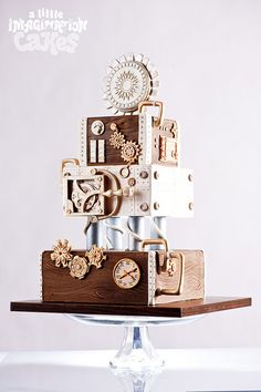 Steampunk woodgrain Clock Gears Wedding Cake by A Little Imagination Cakes, via Flickr