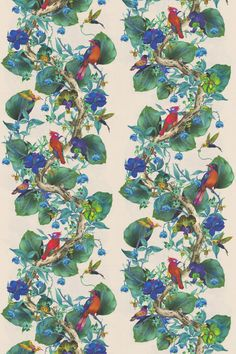 Rain Forest Multi-coloured / Apple Green fabric by Osborne & Little