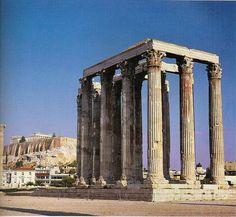 Dedicado al Dios Zeus, el Dios de los juegos olímpicos gobernante del monte Olimpo y dios del cielo y el trueno. En la actualidad sólo se conservan 16 de las 104 columnas originales. Éstas son de estilo  corintio y miden 17 metros cada una. Fue construido por Libón de Elide desde el año 470 a. C. al 456 a.C. Es un templo situado en el llamado al bosque sagrado del Santuario de Olimpia.
