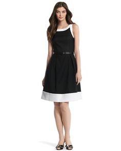 Sleeveless Contrast-Trim Dress - White House | Black Market #whbm #feelbeautiful