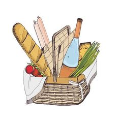 Illustration of Colorful drawing of traditional wicker picnic basket vector art, clipart and stock vectors. Food Drawing, Cat Drawing, Basket Drawing, Wicker Picnic Basket, Picnic Date, Spring Activities, Banner Printing, Colorful Drawings, Summer Kids