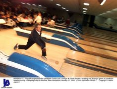 Republican presidential candidate Texas Gov George W Bush throws a bowling ball during a game of candlepin bowling during a campaign stop in Nashua. Bowling Ball, Presidential Candidates, New Hampshire, Campaign, Stock Photos, Game, Pictures, Photos