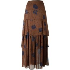 See By Chloé Floral Print Maxi Skirt ($432) ❤ liked on Polyvore featuring skirts, brown, maxi skirt, high waisted maxi skirt, long skirts, long brown skirt and long floral maxi skirt
