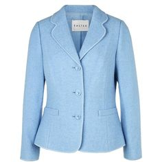 Eastex Blue Boiled Wool Jacket ($155) ❤ liked on Polyvore featuring outerwear, jackets, blue, women, blue jackets, boiled wool jacket, collar jacket and eastex