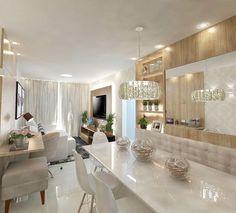 """975 curtidas, 29 comentários - Eu Decoração❤️ (@eudecoracaoblog) no Instagram: """"Uma sala de estar e jantar integradas toda clean e muito cheia de charme!❤️ Projeto:…"""""""