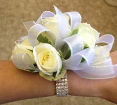 Moms wrist corsage with rhinestone bracelet Always With Flowers - Lemont, IL