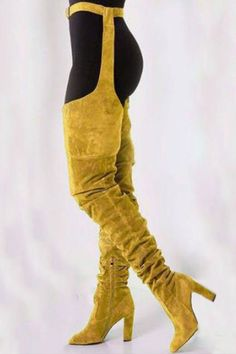 05dab1e0429 Stylish Chunky Heel Pointed Toe Thigh High Boots