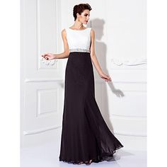 Sheath / Column Jewel Neck Floor Length Chiffon Prom / Formal Evening Dress with Beading by Black And White Evening Dresses, Chiffon Evening Dresses, Formal Evening Dresses, Prom Dresses, Masquerade Ball, Formal Prom, Special Occasion Dresses, I Dress, Dresses Online