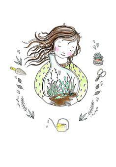 Marieke ten Berge 'A4 Poster Terrarium Plants'