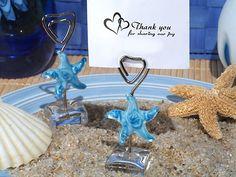 Murano Blue Glass Starfish Place Card Holder