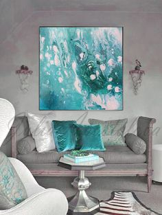 #ReadytoHang '' #Ocean #Topaz'' #45''x45'' #Abstract #Painting, #Large #WallArt, #Turquoise and #White #AbstractPrint, #OceanAbstract #Print, #Canvas by #JuliaApostolova on #Etsy #interior #design #designer #interiordesign #homedecor #decor