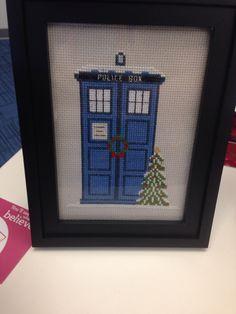 My work secret Santa cross stitched me a TARDIS. She's amazing. - Imgur