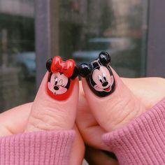 Disney Nail Designs, Valentine's Day Nail Designs, Nail Designs Spring, Mickey Nails, Minnie Mouse Nails, 3d Nails, Love Nails, Pretty Nails, Kawaii Nail Art