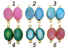 24 kt Gold Plated Druzy Bezel Connectors  fine by finegemstone, $17.00