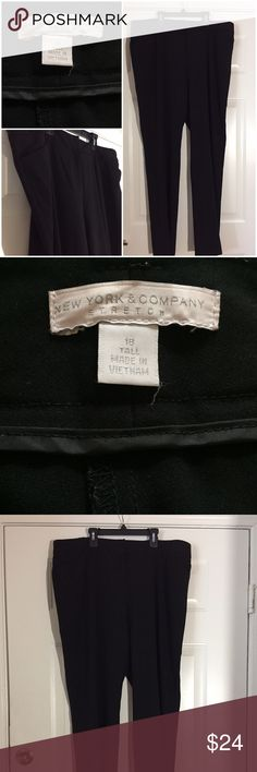 """NEW YORK & COMPANY BLACK SLACKS PANTS SZ 18 TALL NEW YORK & COMPANY BLACK SLACKS PANTS SZ 18 TALL  SZ:  18 Tall Measurements:  Waist 20.5"""" (measured lying flat across the front) Rise 12"""" Inseam 35""""   Condition:  These pants  are in excellent pre-loved condition, no holes, stains, or rips.   Material:  64% Polyester / 32% Rayon / 4% Spandex New York & Company Pants Straight Leg"""