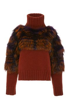 Silver Fox Fur Trimmed Turtleneck Sweater by SALLY LAPOINTE for Preorder on Moda Operandi