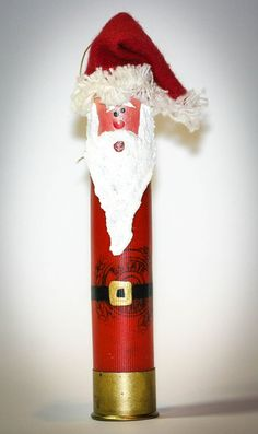 Santa ornaments made from recycled shotgun shells by TouchofMabe. Unique must have Christmas decor.