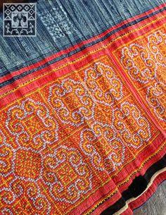Vintage Hmong Fabric Handmade Batik cross stitch by KutchiKooTribe, $47.50