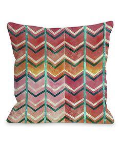This Pink & Orange Textured Zigzag Pillow is perfect! #zulilyfinds