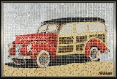 """1940 Ford Woody"" by Jeff Ivanhoe, made from small tiles hand-cut from recycled aluminum cans."