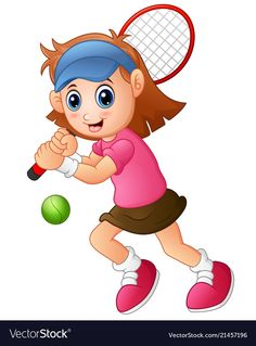 Young girl playing tennis on a white background Vector Image Preschool Jobs, Preschool Learning Activities, Preschool Crafts, Tennis Drawing, Tennis Photography, Fuzzy Felt, Classroom Charts, School Painting, Madhubani Art
