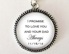 """Daughter of the Groom gift from Bride - """"I Promise to love you and your Dad always"""" - gift from new Step Mom - Blended Family - step mom"""