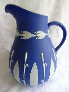 "Antique Cobalt Blue DIP Wedgwood Jasperware 7 5"" Jug Pitcher Bullrush Cattail"
