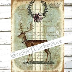 Vintage Deer Stag Large Image Instant by GraphicMarketplace