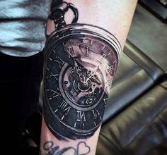 Melting Clock Tattoo For Men