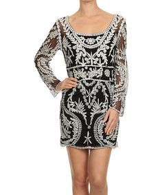 Black & Off-White Embroidered Scoop Neck Dress - Women