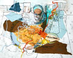 Quince & Blue China - Monoprint, Collage, Oil Pastel & Watercolour 30 x 40 cm, Shirley Trevena